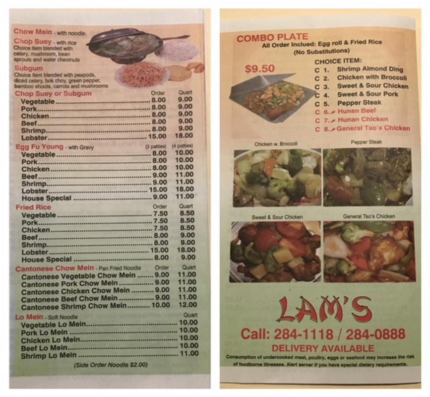 Lam's Carryout Menu